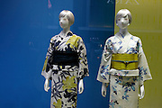 window display with mannequins wearing modern yukata style kimono