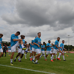 TELFORD COPYRIGHT MIKE SHERIDAN AFC Telford warm up during the National League North fixture between Kettering Town and AFC Telford United at Latimer Park on Saturday, August 3, 2019<br /> <br /> Picture credit: Mike Sheridan<br /> <br /> MS201920-005