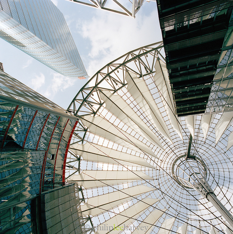 The roof of the Sony Centre at Potsdamer Platz, Berlin, Germany