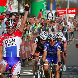 Sportfoto archief 2006-2010<br /> 2009<br /> Marianne Vos (DSB-Nederland Bloeit) wins in Hoogeveen the Eurocup ronde van Drenthe. Trixi Worrack (N¸rnberger) 2nd and Emma Johanson (Red Sun)
