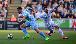 Borja Gonzalez of Swansea City puts pressure on Geoff Cameron of Stoke City - Mandatory by-line: Alex James/JMP - 22/04/2017 - FOOTBALL - Liberty Stadium - Swansea, England - Swansea City v Stoke City - Premier League