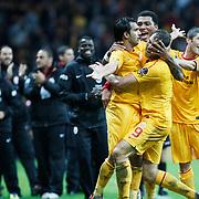Galatasaray's Johan ELMANDER (2ndR) celebrate his goal with team mate during their Turkish Super League soccer match Galatasaray between Bursaspor at the TT Arena at Seyrantepe in Istanbul Turkey on Sunday 16 October 2011. Photo by TURKPIX