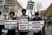Pro-Palestinian protesters demonstration against the military offensive in Gaza by Israel on 7th April 2018 in London, England, United Kingdom. Demonstrators carried placards and banners calling to Free Palestine and to End the seige on Gaza at the demo called: Protest for Gaza: Stop the Killing. Orthodox Jewish community protest in support of the rights of the Palestinian people and to end the more than 60 years of Israeli occupation. Their anti Zionist message requests that the media and world leaders have a more honest and open policy on the Palestinian issue, highlighting the Gazan blockade as subhuman and to live in peace and harmony just as in the past before Zionism came into being.