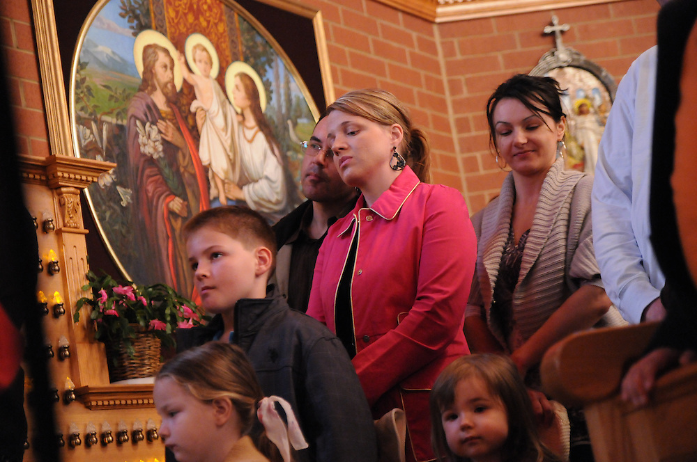 Polish Catholics at Our Lady, Mother of the Church Polish Mission in Willow Springs await Francis Cardinal George's Blessing of Easter Baskets on Holy Saturday.