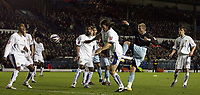 Photo: Paul Thomas/Sportsbeat Images.<br />Leeds United v Bury FC. Johnstone's Paint Trophy. 13/11/2007.<br /><br />Andy Bishop (2nd R) of Bury scores his goal to take the lead 2-1.