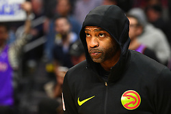 January 28, 2019 - Los Angeles, CA, U.S. - LOS ANGELES, CA - JANUARY 28: Atlanta Hawks Forward Vince Carter (15) looks on during a NBA game between the Atlanta Hawks and the Los Angeles Clippers on January 28, 2019 at STAPLES Center in Los Angeles, CA. (Photo by Brian Rothmuller/Icon Sportswire) (Credit Image: © Brian Rothmuller/Icon SMI via ZUMA Press)