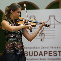 Natalia Ladstatter of Austria plays her violin during the Jozsef Szigeti International Violin Contest held every five year in Budapest, Hungary on September 06, 2012. ATTILA VOLGYI