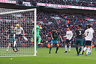 Harry Kane of Tottenham Hotspur (2L) scores his team's first goal and breaks the calendar year goal scoring record. Premier league match, Tottenham Hotspur v Southampton at Wembley Stadium in London on Boxing Day Tuesday 26th December 2017.<br /> pic by Steffan Bowen, Andrew Orchard sports photography.