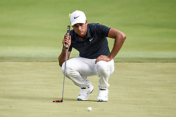 August 12, 2018 - Town And Country, Missouri, U.S - JULIAN SURI from St. Augustine Florida, USA  lines up his putt on the 18th green during round four of the 100th PGA Championship on Sunday, August 12, 2018, held at Bellerive Country Club in Town and Country, MO (Photo credit Richard Ulreich / ZUMA Press) (Credit Image: © Richard Ulreich via ZUMA Wire)