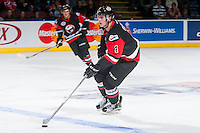 KELOWNA, CANADA - NOVEMBER 9: Haydn Fleury #4 of Team WHL skates with the puck against the Team Russia on November 9, 2015 during game 1 of the Canada Russia Super Series at Prospera Place in Kelowna, British Columbia, Canada.  (Photo by Marissa Baecker/Western Hockey League)  *** Local Caption *** Haydn Fleury;