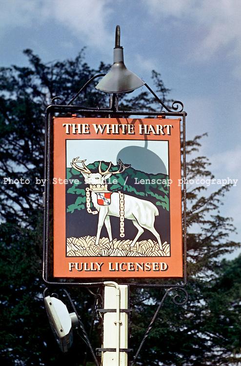 Pub Signs, The White Hart, Sevenoaks, Kent, Britain