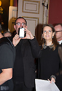 THE REVEREND RICHARD COLES ; LUCY BERESFORD, The Literary Review Bad Sex in Fiction Award 2014. The In and Out ( Naval and Military ) Club, 4 St. James's Sq. London SW1. 3 December 2014.