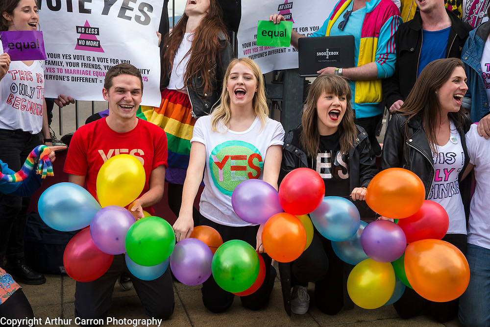 22/5/15 Members of the Irish LGBT community living in London arrive home at Dublin Port to vote in the Marraige Equality referendum. Picture: Arthur Carron