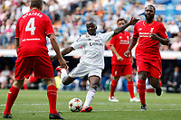 Real Madrid´s Seedorf (L) and Liverpool´s Salif Diao during 2015 Corazon Classic Match between Real Madrid Leyendas and Liverpool Legends at Santiago Bernabeu stadium in Madrid, Spain. June 14, 2015. (ALTERPHOTOS/Victor Blanco)