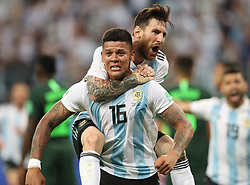 June 26, 2018 - Saint Petersburg, Russia - Argentina's MARCOS ROJO (bottom) celebrates scoring with LIONEL MESSI during the 2018 FIFA World Cup Group D match between Nigeria and Argentina in Saint Petersburg. Argentina beat Nigeria 2-1. (Credit Image: © Yang Lei/Xinhua via ZUMA Wire)