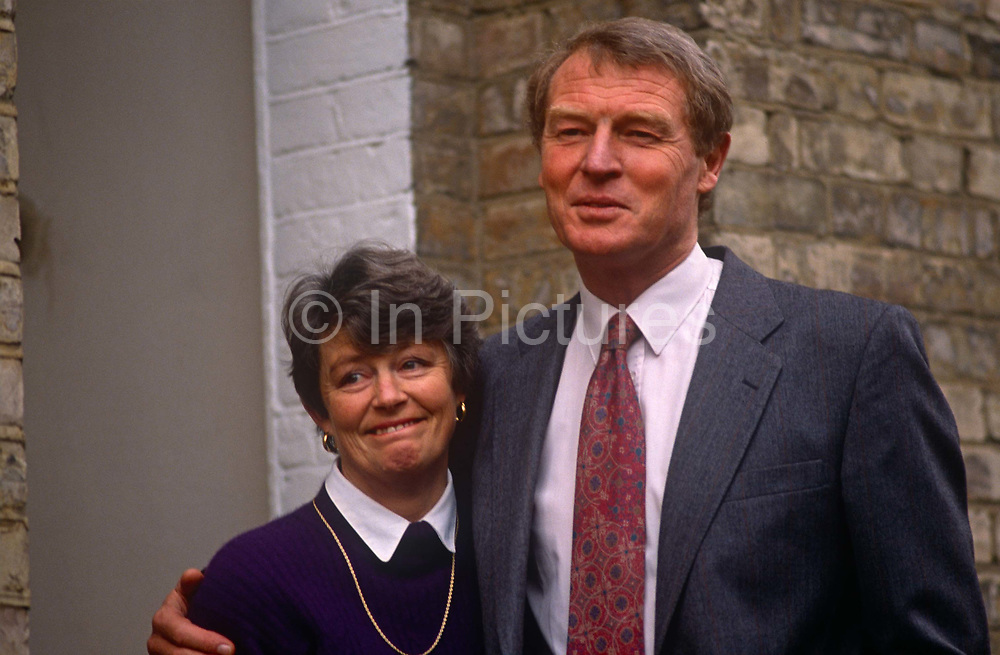 Liberal Democrat leader Paddy Ashdown and wife Jane on the steps of their Kennington home, on 6th february 1992, in London England. Following the press becoming aware of a stolen document relating to a divorce case, he disclosed a five-month affair with his secretary, Patricia Howard, five years earlier. He and his marriage weathered the political and tabloid storm, with his wife of 30 years forgiving him. The revelation of his affair sparked the front page headline Its Paddy Pantsdown from The Sun newspaper.