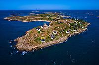 France, Manche (50), îles Chausey, Grande île avec le phare, vue aerienne // France, Normandy, Manche department, Chausey isands, Grande île, aerial view