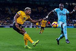 February 11, 2019 - Wolverhampton, England, United Kingdom - Adama Traore of Wolverhampton Wanderers crosses the ball that results in the equalizer during the Premier League match between Wolverhampton Wanderers and Newcastle United at Molineux, Wolverhampton on Monday 11th February 2019. (Credit Image: © Mi News/NurPhoto via ZUMA Press)
