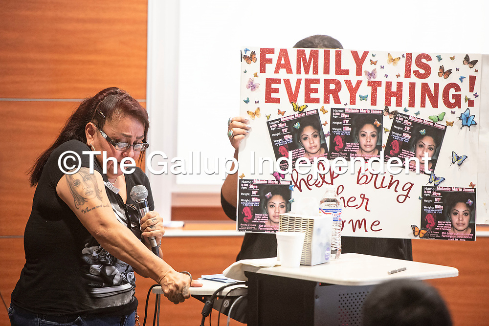 Lela Mailman speaks about her daughter Melanie Marie James Thursday, June 27 at a Missing and Murdered Dine Relatives Forum in Shiprock. Melanie Marie James was last seen in 2014 in Farmington.