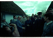 Raisa Gorbachev at Bunratty Folk Park.  (R99)..1989..02.04.1989..04.02.1989..2nd April 1989..While her husband, Russian President Mikhail Gorbachev,was working on state matters ,Mrs Gorbachev was taken on a tour of Bunratty Folk Park in Co Clare. The Gorbachevs were in Ireland as part of a tour of European Capitals...Image shows Mrs Gorbachev arriving to tour Bunratty Folk Park. Mrs Maureen Haughey is pictured on the right of the image.