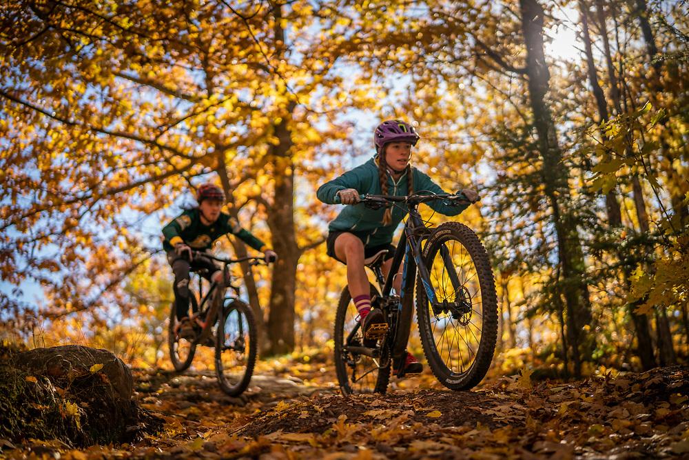 Mountain biking Marquette Michigan in fall.