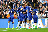 Chelsea players celebrate after Willian's (in huddle) scores his second goal to put Chelsea 2-1 up. The Emirates FA Cup semi-final match, Chelsea v Tottenham Hotspur at Wembley Stadium in London on Saturday 22nd April 2017.<br /> pic by Carl Robertson,  Andrew Orchard sports photography.
