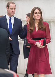 HRH The Duchess of Cambridge with her husband the Duke of Cambridge leaving after viewing the portrait unveiling of the first official painted portrait of the Duchess of Cambridge on display at the National Portrait Gallery from today, painted by artist Paul Elmsley, London, UK, January 11, 2013. Photo by i-Images.