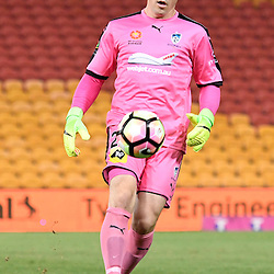 BRISBANE, AUSTRALIA - FEBRUARY 3: Danny Vukovic of Sydney kicks the ball during the round 18 Hyundai A-League match between the Brisbane Roar and Sydney FC at Suncorp Stadium on February 3, 2017 in Brisbane, Australia. (Photo by Patrick Kearney/Brisbane Roar)