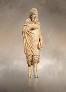 Marble statue of Pan found in Sparta, Pelopenese, 1st Cent AD copy of 4th Cent BC Greek original. Athens Archaeological Museum Cat No 252.<br /> <br /> Pan, the goat footed god wears an animal pelt from which protrude only his jhairy legs. In his left hand he is holding pan pipes. The expression on his bestial featured face is softened by a broad smile. .<br /> <br /> If you prefer to buy from our ALAMY STOCK LIBRARY page at https://www.alamy.com/portfolio/paul-williams-funkystock/greco-roman-sculptures.html . Type -    Athens    - into LOWER SEARCH WITHIN GALLERY box - Refine search by adding a subject, place, background colour, etc.<br /> <br /> Visit our ROMAN WORLD PHOTO COLLECTIONS for more photos to download or buy as wall art prints https://funkystock.photoshelter.com/gallery-collection/The-Romans-Art-Artefacts-Antiquities-Historic-Sites-Pictures-Images/C0000r2uLJJo9_s0