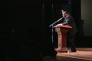"""19 January 2015-Santa Barbara, CA: The Arlington Theater Program;  Keynote Speaker, Dr. Broderick A. Huggins, Bishop.  Santa Barbara Honors Dr. Martin Luther King Jr. with a Day of Celebration.  The Santa Barbara MLK, Jr. Committee chose """"Drum Majors for Justice"""" as it's theme for the day which included a Pre-March Program in De la Guerra Plaza followed by a march up State Street to the Arlington Theater for speakers, music and poetry.  The program concluded with a Community Lunch at the First United Methodist Church in Santa Barbara.  Photo by Rod Rolle"""