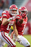 FAYETTEVILLE, AR - OCTOBER 17:    Hudson Clark #17 of the Arkansas Razorbacks celebrates his third interception during a game against the Mississippi Rebels at Razorback Stadium on October 17, 2020 in Fayetteville, Arkansas.  The Razorbacks defeated the Rebels 33-21.  (Photo by Wesley Hitt/Getty Images) *** Local Caption *** Hudson Clark