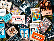 London, England - April 04, 2020: Selection of Popular Music on Audio Cassette Tape from the 1970s, 1980s and 1990s