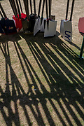 """Henley on Thames, United Kingdom, 2nd July 2018, Monday,   """"Henley Royal Regatta"""",  view, Blades, Oars, stacked, against the, """"Boat Tent supports"""",  Henley Reach, River Thames, Thames Valley, England, © Peter SPURRIER,"""