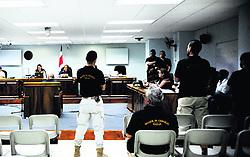 """November 19, 2018 - (20/11/2018) Las autoridades atribuyen el homicidio de Dennis Patricio Omier, alias Tupac, a una disputa por el tráfico de cocaína. En el debate hay seis sujetos acusados; uno de ellos es exoficial de la Fuerza Pública. Se prevé que el proceso concluya el próximo 28 de noviembre. PROHIBIDO EL USO O REPRODUCCIÃ""""N EN COSTA RICA. (Credit Image: © Rafael Murillo/La Nacion via ZUMA Press)"""