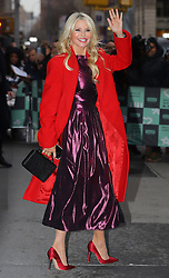 January 29 2019, New York City<br /> <br /> Model Christie Brinkley wraps up in a red coat as she made an appearance at Build Series on January 29 2019 in New York City
