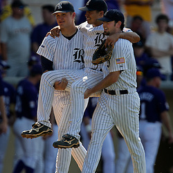 06 June 2009: Rice third baseman Anthony Rendon (center) is carried off the field by teammates after suffering a leg injury in the top of the second inning, during game two of the NCAA baseball Super Regional between the Rice Owls and the LSU Tigers at Alex Box Stadium in Baton Rouge, Louisiana.