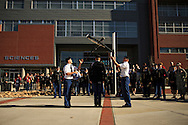 EKU ROTC Cadets and members of EKU's chapter of Pershing Rifles Dylan Baine and Adam Renn perform for a crowd during a Veterans Day ceremony at Eastern Kentucky University, Saturday, November 10, 2012. Photo by Chris Radcliffe