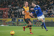 Scott Malone (Cardiff City) goes around the Hull attacker during the Sky Bet Championship match between Hull City and Cardiff City at the KC Stadium, Kingston upon Hull, England on 13 January 2016. Photo by Mark P Doherty.
