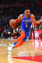 March 8, 2019 - Los Angeles, CA, U.S. - LOS ANGELES, CA - MARCH 08: Oklahoma City Thunder Guard Russell Westbrook (0) drives to the basket during a NBA game between the Oklahoma City Thunder and the Los Angeles Clippers on March 8, 2019 at STAPLES Center in Los Angeles, CA. (Photo by Brian Rothmuller/Icon Sportswire) (Credit Image: © Brian Rothmuller/Icon SMI via ZUMA Press)