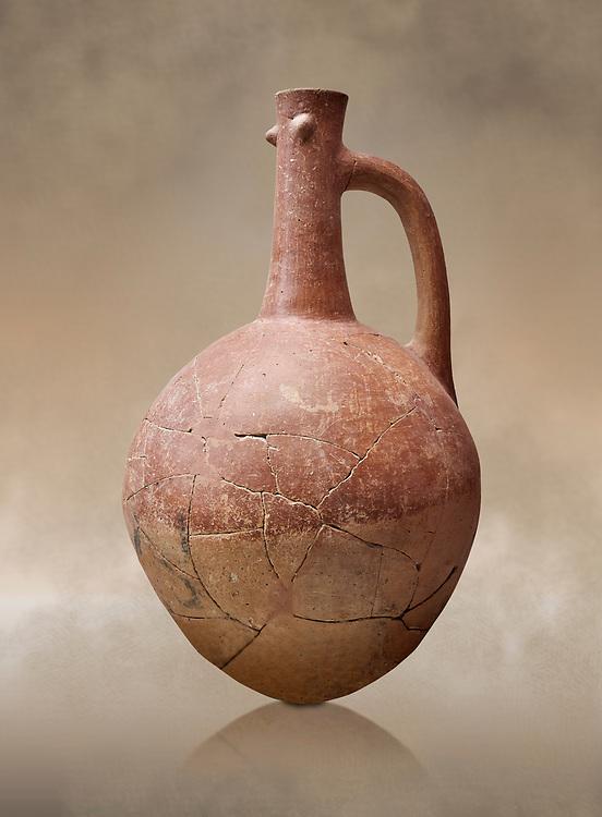 Hittite pottery jug with raised eyes from Hittite capital Hattusa, Hittite  Middle  Kingdom 1650-1450 BC, Bogazkale archaeological Museum, Turkey.