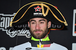 March 1, 2017 - Dour, BELGIUM - Belgian Guillaume Van Keirsbulck of Wanty-Groupe Gobert celebrates on the podium after winning the 49th edition of the Grand Prix du Samyn cycling race, Wednesday 01 March 2017. The race starts in Quaregnon and ends in Dour (202,6km). The Grand Prix du Samyn is also the first round of the Napoleon Games Cup. BELGA PHOTO DAVID STOCKMAN (Credit Image: © David Stockman/Belga via ZUMA Press)
