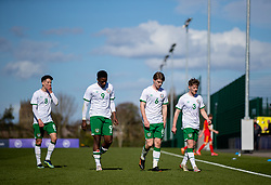 WREXHAM, WALES - Friday, March 26, 2021: Republic of Ireland's Conor Noss, Jonathan Afolabi, Luca Connell, Mason O'Malley walks off at half-time losing 1-0 during an Under-21 international friendly match between Wales and Republic of Ireland at Colliers Park. Republic of Ireland won 2-1. (Pic by David Rawcliffe/Propaganda)