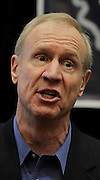 Illinois gubernatorial candidate Bruce Rauner stopped at the Regency Conference Center in O'Fallon as part of a bus trip around the state on Wednesday.