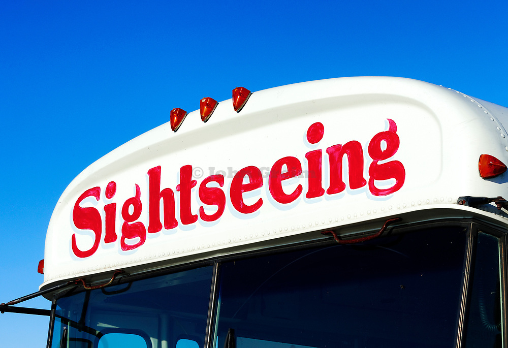 Sightseeing bus.
