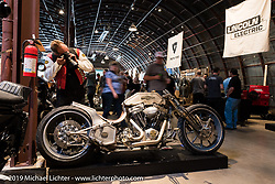 Kyle Shorey's custom Harley-Davidson during the Friday night opening of the Handbuilt Motorcycle Show. Austin, TX. April 10, 2015.  Photography ©2015 Michael Lichter.