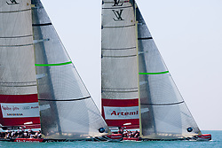 Artemis Racing (SWE) vs. Mascalzone Latino Audi Team (ITA), RR1. Both teams win one match. Dubai, United Arab Emirates, November 17th 2010. Louis Vuitton Trophy  Dubai (12 - 27 November 2010) © Sander van der Borch / Artemis Racing