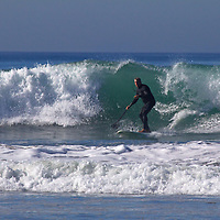 USA, California, San Diego. Stand Up Paddler at Cardiff by the Sea.