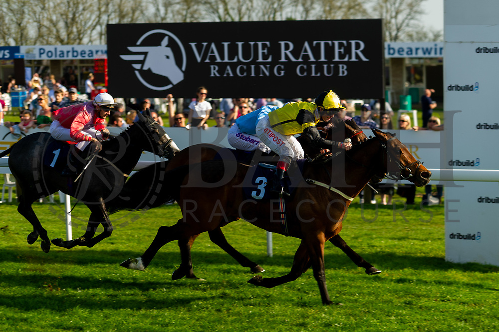 Little Boy Blue ridden Ryan While and trained by Bill Turner, The Daley Express ridden by Franny Norton and trained by Ronald Harris and Acclaim The Nation ridden by Tom Eaves and trained by Eric Alston  - Ryan Hiscott/JMP - 19/04/2019 - PR - Bath Racecourse- Bath, England - Race 7 - Good Friday Race Meeting at Bath Racecourse