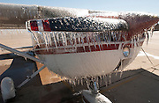 Cessna 150 airplane coated with ice