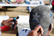 Melinda Balderas  paints Juan Rodriguez's hair in parking lot 4 before the Cowboys game against the Pittsburgh Steelers at Cowboys Stadium in Arlington, Texas, on December 16, 2012.  (Stan Olszewski/The Dallas Morning News)